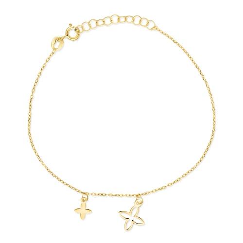Pozłacana bransoletka celebrytka - Lilie pr.925