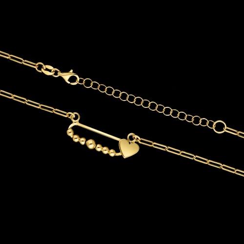 Pozłacany naszyjnik - Serce na łańcuchu pr.925