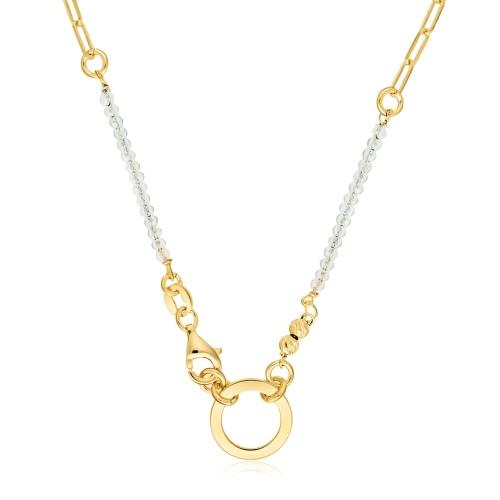 Pozłacany naszyjnik - Pierścień na łańcuchu pr.925