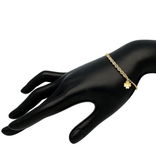 Pozłacana bransoletka z kryształkami - Koniczynka pr.925
