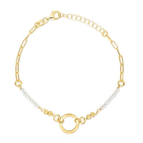 Pozłacana bransoletka celebrytka - Pierścień na łańcuchu pr.925