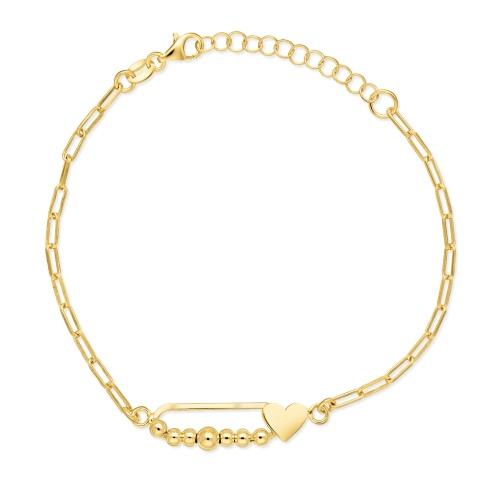 Pozłacana bransoletka celebrytka - Serce na łańcuchu pr.925
