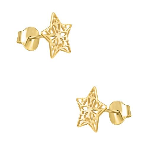 Pozłacane kolczyki - Ażurowe gwiazdki pr.925