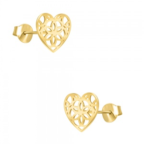 Pozłacane kolczyki - Ażurowe serca pr.925