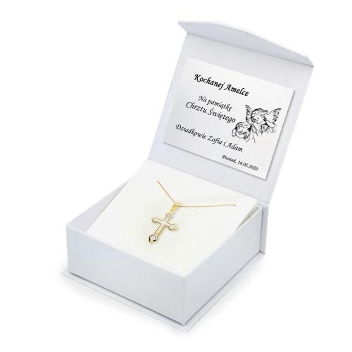 Złoty komplet z krzyżykiem - Prezent na Chrzest, Komunię pr.333