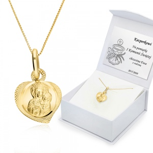 Złoty komplet z medalikiem - Prezent na Chrzest, Komunię pr.333