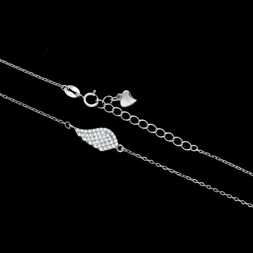 Srebrny naszyjnik z cyrkoniami - Skrzydło pr.925