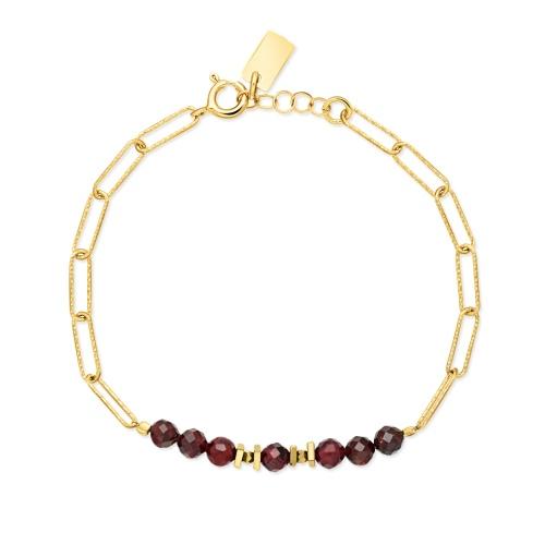 Pozłacana bransoletka - Granaty na łańcuchu pr.925