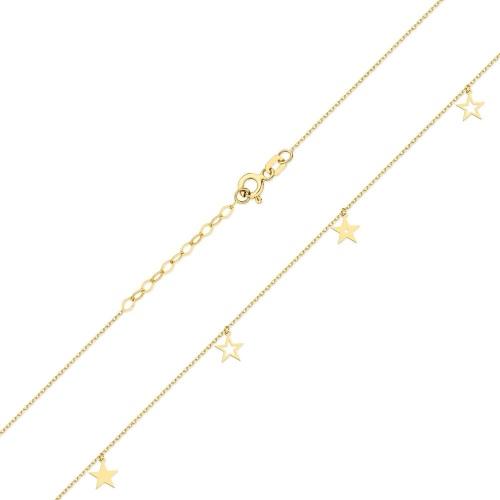 Złoty naszyjnik celebrytka z brylantem 0,005ct Gwiazdki pr.585