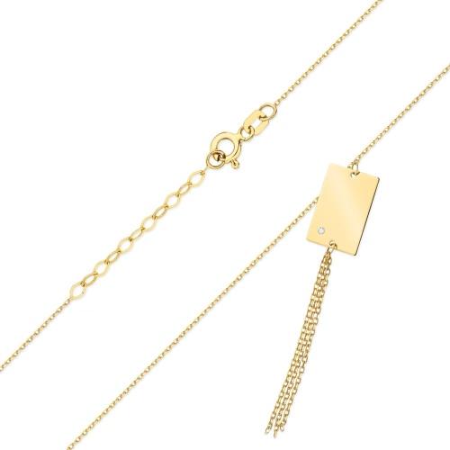 Złoty naszyjnik celebrytka z brylantem 0,005ct pr.585