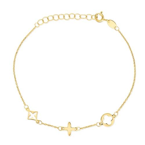 Złota bransoletka celebrytka - Marokańskie koniczyny pr.585