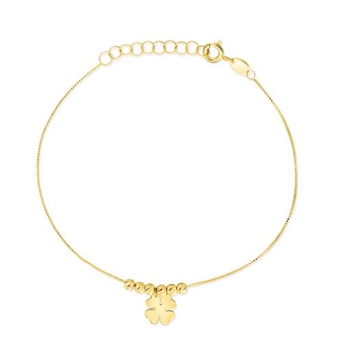 Złota bransoletka celebrytka - Czterolistna koniczyna pr.585