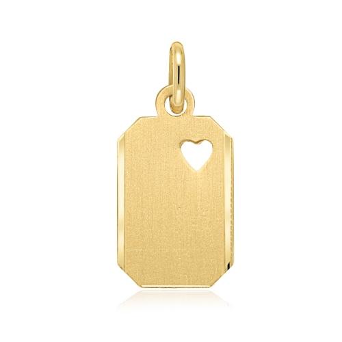 Złota zawieszka - Blaszka z sercem pr.585