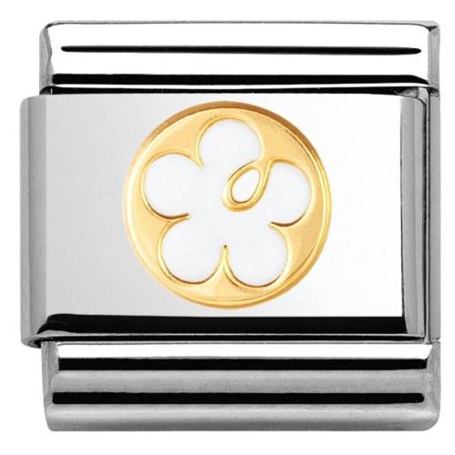 Nomination - Link 18K Gold Biały Kwiat Emalia 030279/05