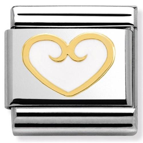 Nomination - Link 18K Gold Białe Serce Emalia 030279/12
