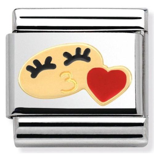Nomination - Link 18K Gold Her Smile with Heart in Enamel 030243/28