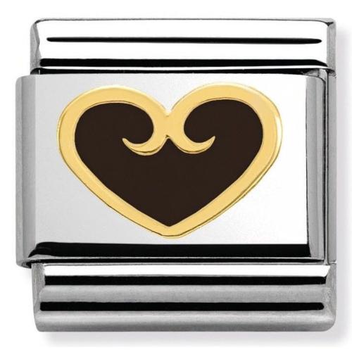 Nomination - Link 18K Gold Czarne Serce Emalia 030279/15
