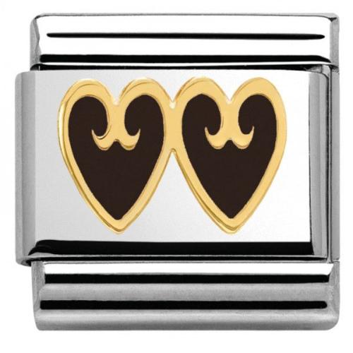 Nomination - Link 18K Gold 'Czarne Serca' 030279/16