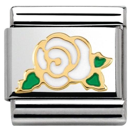 Nomination - Link 18K Gold 'Biała Róża' 030285/33