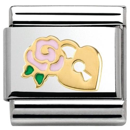 Nomination - Link 18K Różowa Róża z Kłódką Emalia 030285/34