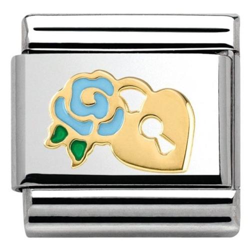 Nomination - Link 18K Gold 'Niebieska Róża z Kłódką' 030285/35