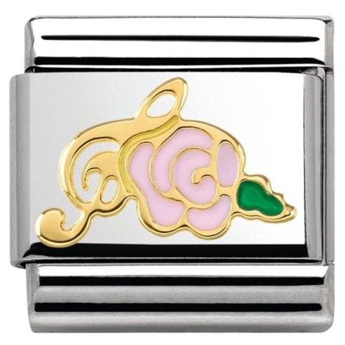 Nomination - Link 18K Gold 'Różowa Róża z Kluczem Wiolinowym' 030285/38