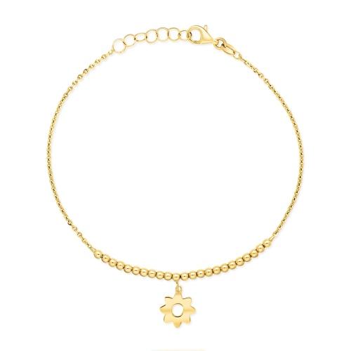 Złota bransoletka celebrytka - Kulki pr.585