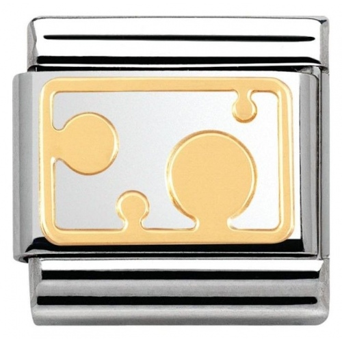 Nomination - Link 18K Gold 'Plate with Big Dots' 030153/12