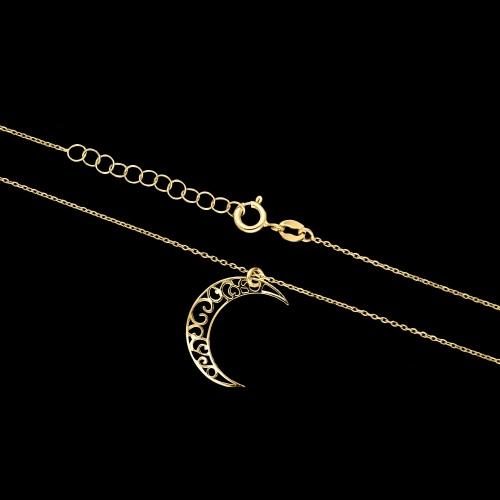 Pozłacany naszyjnik celebrytka - Półksiężyc pr.925