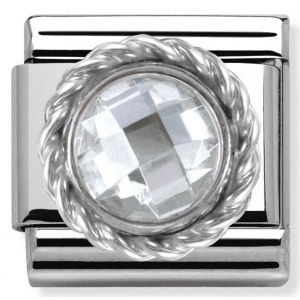 Nomination - Link 925 Silver Round Faceted white Stone 330601/010