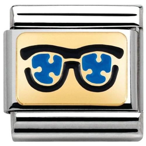 Nomination - Link 18K Niebieskie Okulary Emalia 030284/03