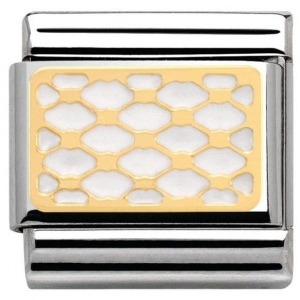 Nomination - Link 18K Interlocking Grid in Enamel 030281/07