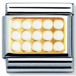 Nomination - Link 18K Gold 'Grill in White' 030280/03