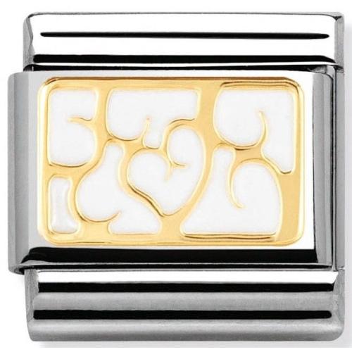 Nomination - Link 18K Gold 'Interlocking White Hearts' 030280/07