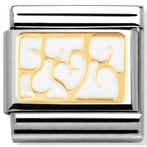 Nomination - Link 18K Interlocking White Hearts in Enamel 030280/07