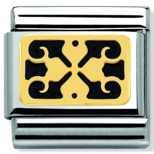 Nomination - Link 18K Gold 'Black Four-Leaf Clover' 030280/23