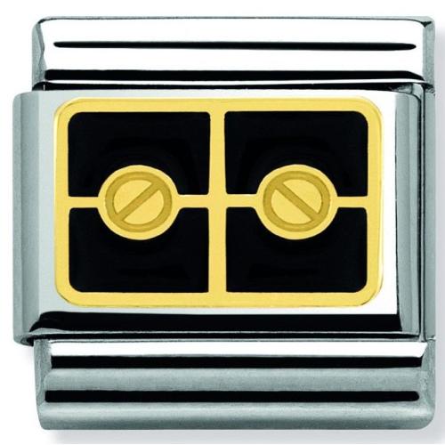Nomination - Link 18K Gold 'Plaque with 2 Black Screws' 030280/26