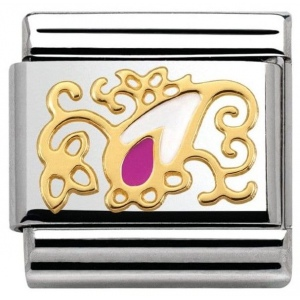Nomination - Link 18K Gold 'White and fuchsia Drop' 030281/32