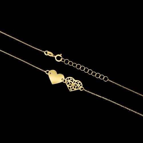 Złoty naszyjnik celebrytka - Serca pr.585