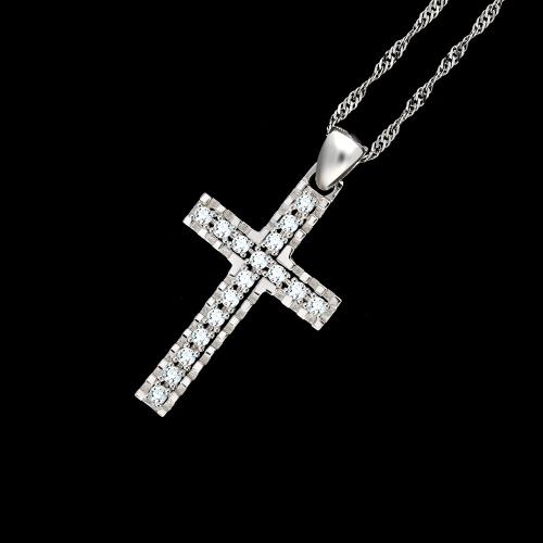Złota zawieszka z cyrkoniami - Krzyżyk pr.585