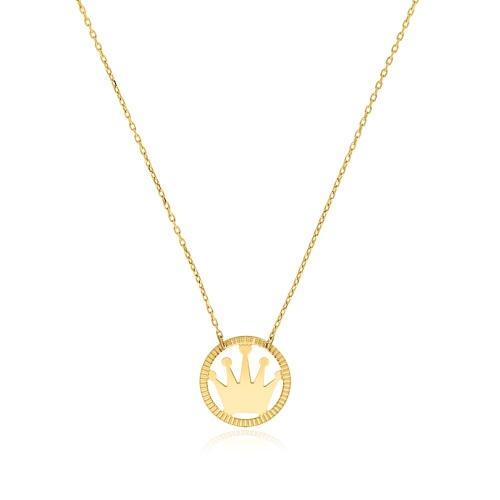 Złoty naszyjnik celebrytka - Korona pr.585
