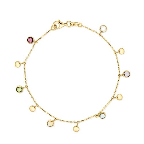 Złota bransoletka z cyrkoniami 19cm pr.585