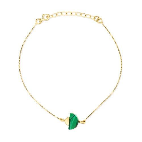 Złota bransoletka celebrytka z malachitem pr.585