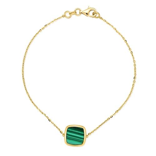 Złota bransoletka celebrytka z malachitem 19cm pr.585