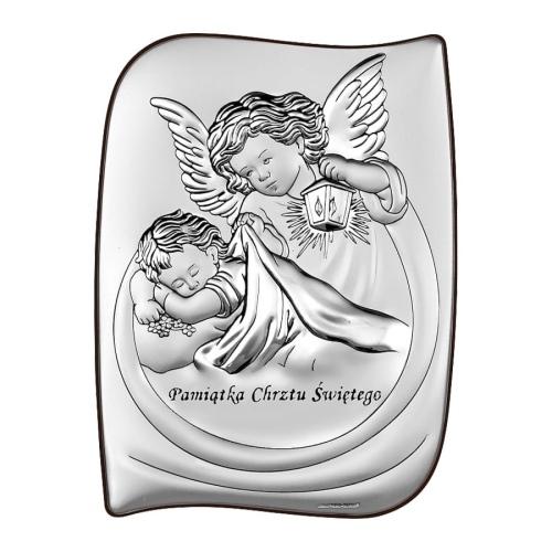 Srebrny obrazek na chrzest św. - Aniołek nad dzieciątkiem z latarenką