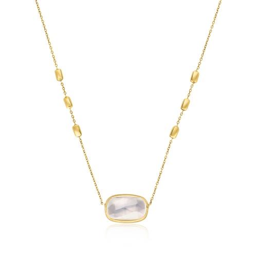 Złoty naszyjnik z kwarcem pr.585