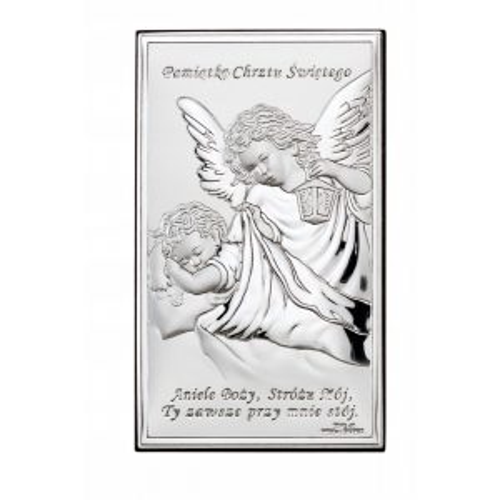 Srebrny obrazek na chrzest św. - Aniołek Nad Dzieciątkiem