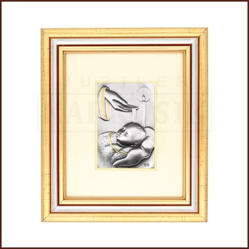 Srebrny obrazek na chrzest św.