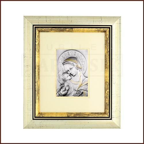 Srebrny obrazek - Madonna z Dzieciątkiem