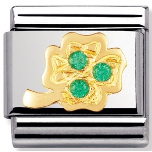 Nomination - Link 18K Gold Green Four-Leaf Clover 030310/20